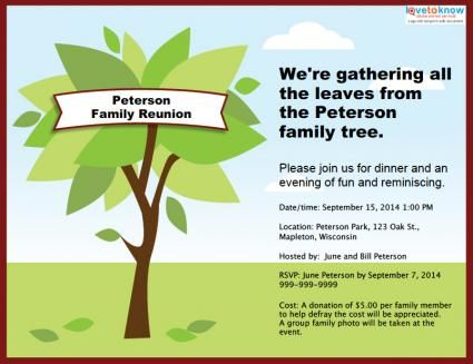 Customizable family reunion invitation Reunion Ideas – Family Gathering Invitation Wording