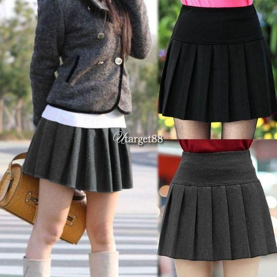 Women'S Solid Mini Skirt High Waist Skater Flared Pleated Short Skirt  Utar