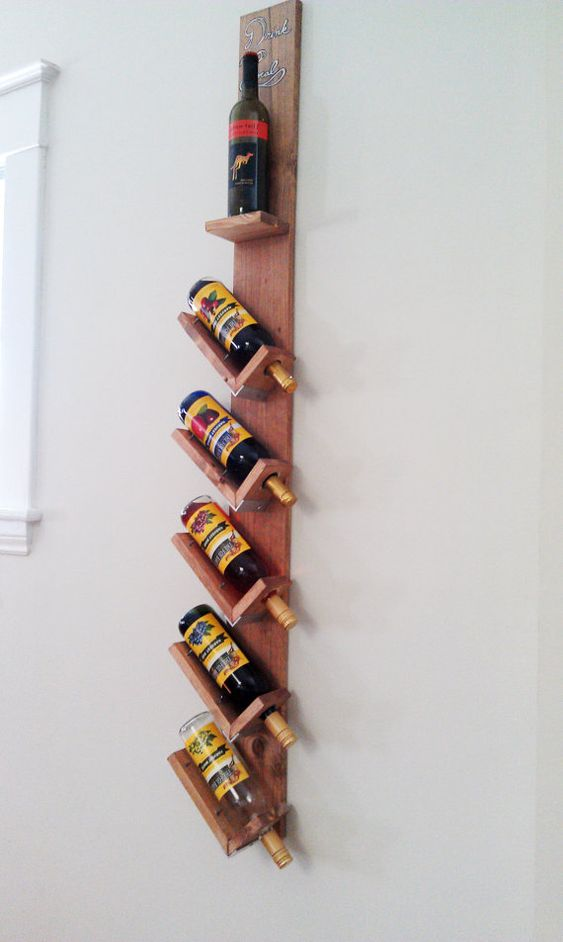 Wood Wall Hanging Wine Rack by DrinkLocal on Etsy, $55.00