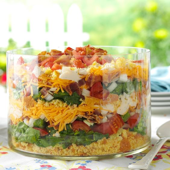 Colorful Corn Bread Salad Recipe -When my garden comes in, I harvest the veggies for potluck dishes. I live in the South, and we think bacon and corn bread make everything better, even salad! —Rebecca Clark, Warrior, Alabama