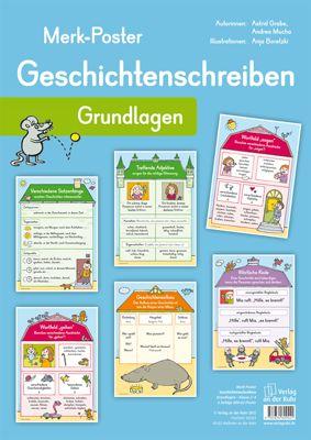 """Merk-Poster - Geschichtenschreiben – Grundlagen ++ #Organisationsmaterial für den #Deutschunterricht an Grundschulen, Klasse 2-4 ++ """"Wie sieht ein guter Geschichtenaufbau eigentlich aus?"""" Auf diese und viele weitere Fragen finden die Kinder auf den Postern schnell eine passende Antwort, verschaffen sich einen guten Überblick und erhalten wertvolle Anregungen – für viele spannende und überraschende #Geschichten. + Inhalt: """"Geschichtenaufbau"""", """"Verschiedene Satzanfänge"""", """"Treffende Adjektive""""…"""