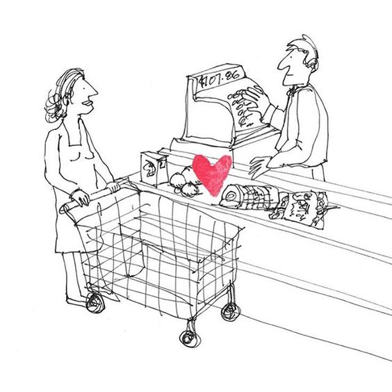 The Secret Life of Love. Day #167 #checkout #grocerystore #sketch #sketchaday #illustration