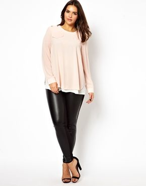 Image 4 of ASOS CURVE Exclusive Blouse With Military Tabs