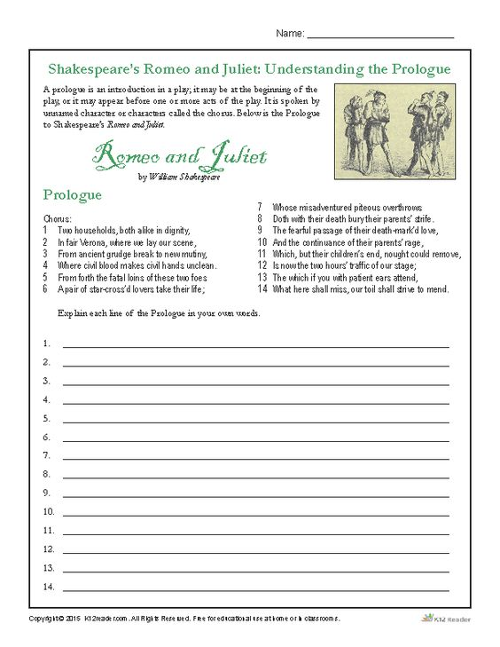 Shakespeares Romeo and Juliet Understanding the Prologue – Romeo and Juliet Worksheets