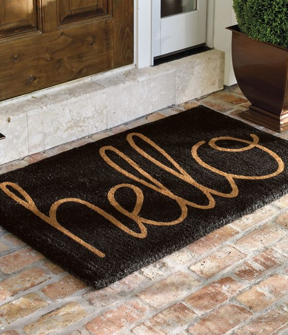 """Our """"Hello"""" Coco Mat extends a proper greeting to everyone who arrives on your threshold."""