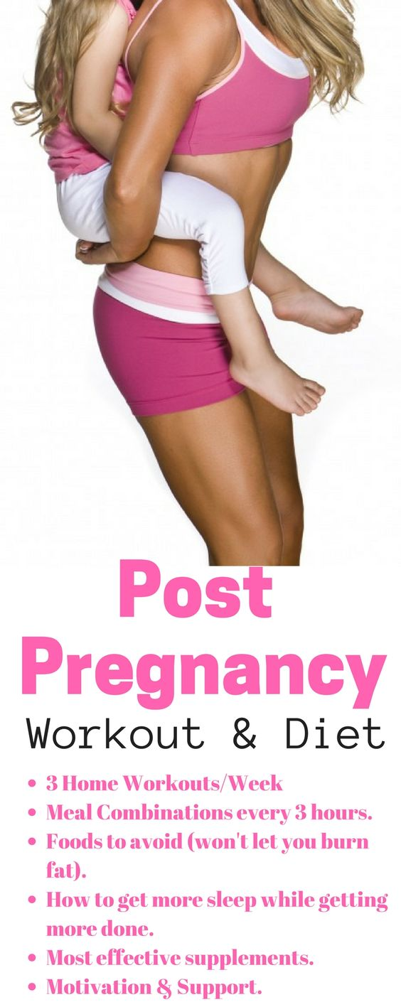 Post Pregnancy workout plan.  2 weeks of workouts and diet plan to lose weight postpartum.