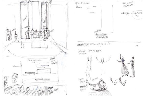 Anotações para cenário de Conceição Bicalho da ópera Apolo e Jacinto em montagem de 2012 na Escola de Música UFMG