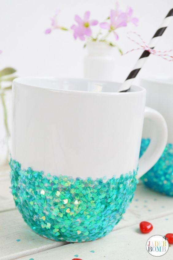 DIYGlittered Mugs D.I.Y Pinterest Mugs, Glitter and Mermaids