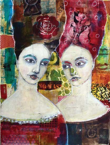 """Talking to Myself"" (mixed media on 300-lb. watercolor paper, 30.5x23) by Jane Spakowsky, featured in Mixed Media Portraits 