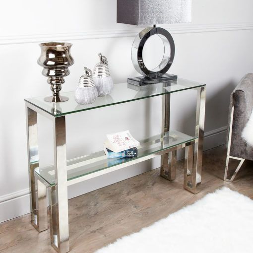 Harvey Chrome And Glass Console Table Dressing Table Picture