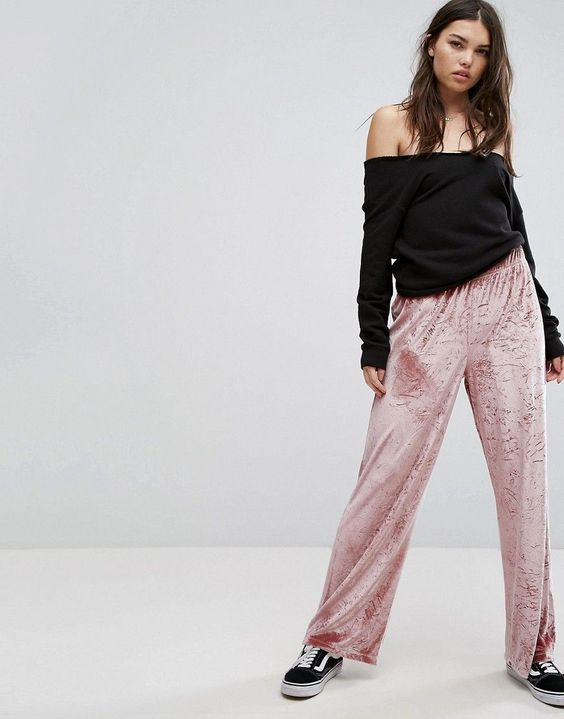 ASOS Wide Leg Pant in Velvet - Pink