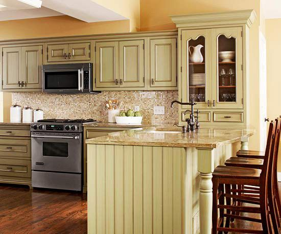 Yellow kitchen design ideas green cabinets celery and for Green and cream kitchen ideas