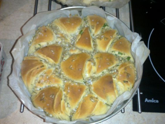 Bulgarian bread with garlic, parsley and sunflower seeds.