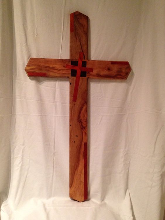 "Pecan Cross with Cocobolo and Padauk inlays  41""x23"" on Etsy, $750.00"