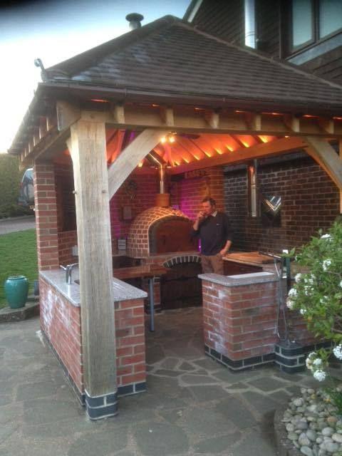 Brick Outdoor Wood Fired Pizza Oven 110cm X 110 Amigo Ovens Uk Manufacturers Garden Pati Backyard Patio Designs Backyard Patio Brick Pizza Oven Outdoor