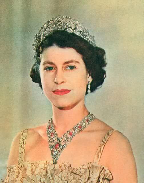 Princess Elizabeth (later Queen Elizabeth II) wearing the Nizam of Hyderabad Tiara, United Kingdom (1947; made by Cartier; diamonds).