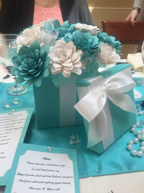 Tiffany bridal shower party decorations! See more party planning ideas at CatchMyParty.com!