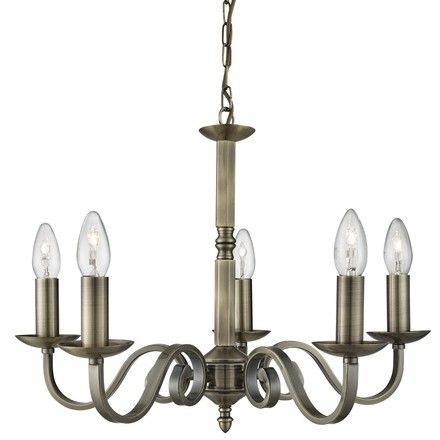 Searchlight 1505-5AB Richmond Multi Arm Ceiling Light in Antique Brass Finish