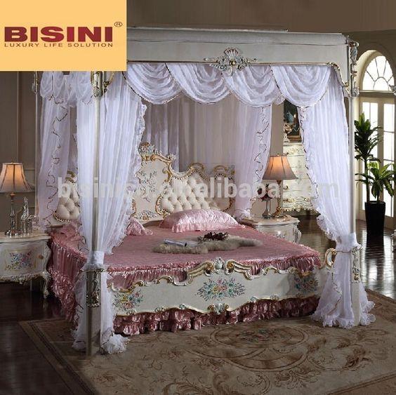 Italiano muebles de dormitorio real, tapizados de lujo canopy cama ...