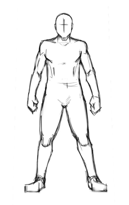 blank male body template