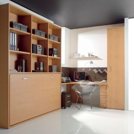 Cama abatible con libreria 35 cama plegable horizontal - Muebles con cama plegable ...