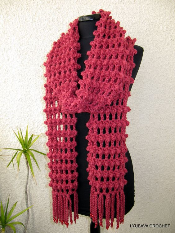 images of crotch scarves  | Crochet Long Scarf Tutorial Pattern PDF, Trendy Crochet Scarf With ...