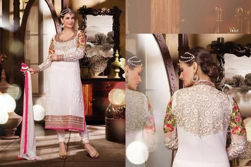Look Stunning in this Heavily Embroidered Thread and Jari work White Georgette Straight Cut dress. Comes along with Santoon Bottom and Chiffon Dupatta