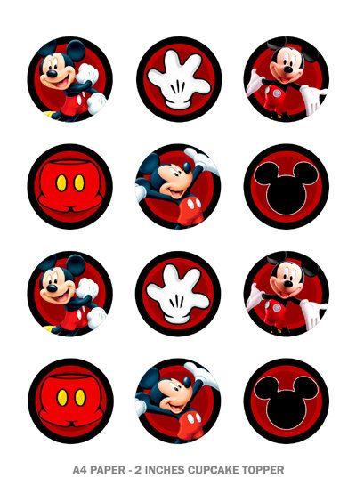 mickey mouse cupcake toppers por mariagala44 en Etsy