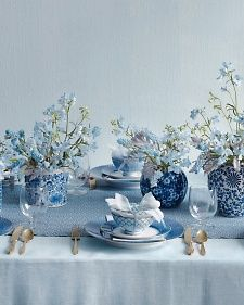 Instead of something blue, enlist all things blue, from periwinkle blooms transforming your tabletops to celestial swirls fancying up your footwear. Together, the cool hues create a style statement of oceanic proportions.