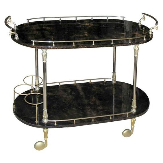 A Brown Parchment covered Teacart by Aldo Tura  Italy  1950's  An Aldo Tura bar cart with beautiful brass details and brown dyed parchment covering for serving in style.