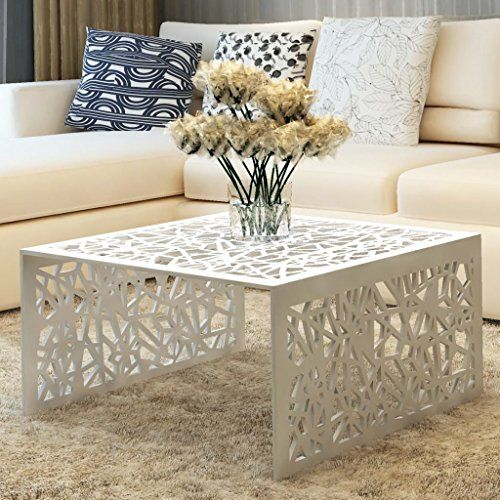 Festnight Aluminum Coffee Table Silver Geometric Openwork Design