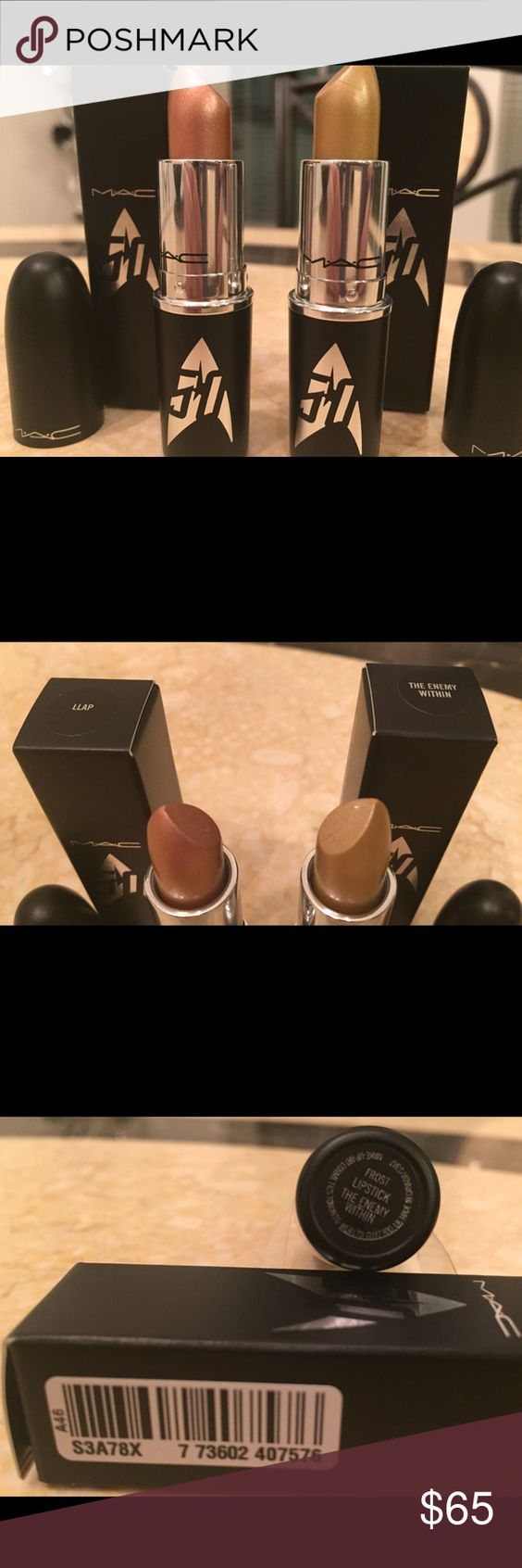 NEW MAC STAR TREK LIPSTICK DUO LLAP & ENEMY WITHIN NO TRADES PLEASE/SELLING AS A SET NEW  100% AUTHENTIC  NOT YET RELEASED TO THE GENERAL PUBLIC  EXPECTED TO SELL OUT IN A MATTER OF HOURS  MOST ANTICIPATED COLLECTION OF THE YEAR  M.A.C. COSMETICS  STAR TREK LIMITED EDITION LIPSTICK DUO SHADES INCLUDES  THE ENEMY WITHIN- A BEAUTIFUL FROSTED LIPSTICK WITH A NEUTRAL GOLD SHIMMER LLAP- A STUNNING FROSTED LIPSTICK IN AN ICY ROSE CHAMPAGNE SHADE BOTH LIPSTICKS COME IN AN LIMITED EDITION STAR TREK…