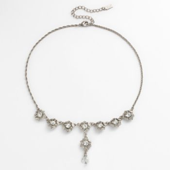 1928 Silver Tone Simulated Crystal Flower Y Necklace