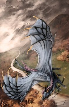 Love this picture of a dragon casually flying over the road looking for a tasty human to snack upon!