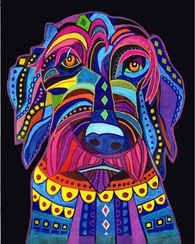 Chien de Labradoodle art Art Print affiche par par HeatherGallerArt