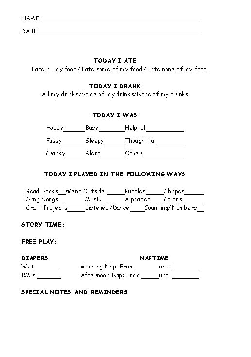 Child Care Survey for Day Care Child care, Child and Childcare - survey form template