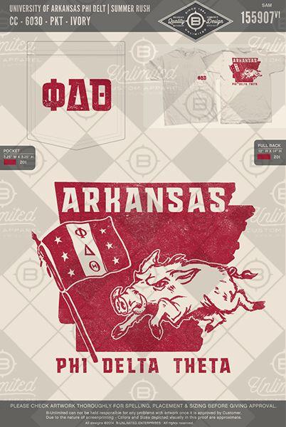 University of Arkansas Phi Delt Summer Rush #BUnlimited #BUonYOU #CustomGreekApparel #GreektShirts #Fraternity #Sorority #GreekLife #TShirts #Tanks #PhiDeltaTheta #PhiDelt #PDT #Arkansas #Rush #Recruitment #Hog #Flag #GreekLetters #StatePride #ArkansasShape #Razorback