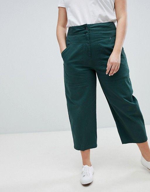 ASOS Curve | ASOS DESIGN Curve - Pantalon droit avec poche amovible à l'arrière - Vert forêt
