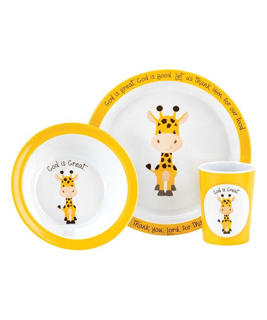 Giraffe 'God is Great' Three-Piece Dish Set