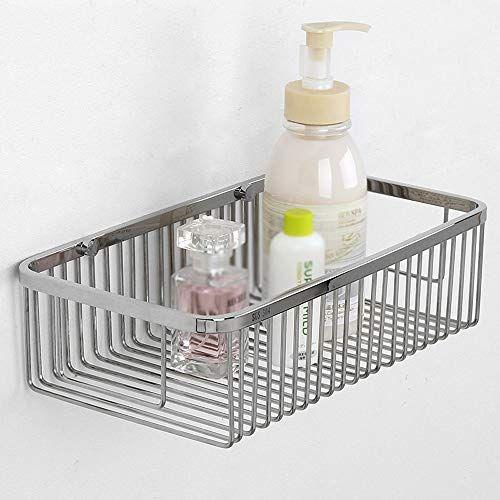 Lifxx 304 Stainless Steel Bathroom Shelf Basket Holder Wall Mounted Kitchen Net Basket Rectangle St Stainless Steel Bathroom Rectangle Storage Bathroom Shelves