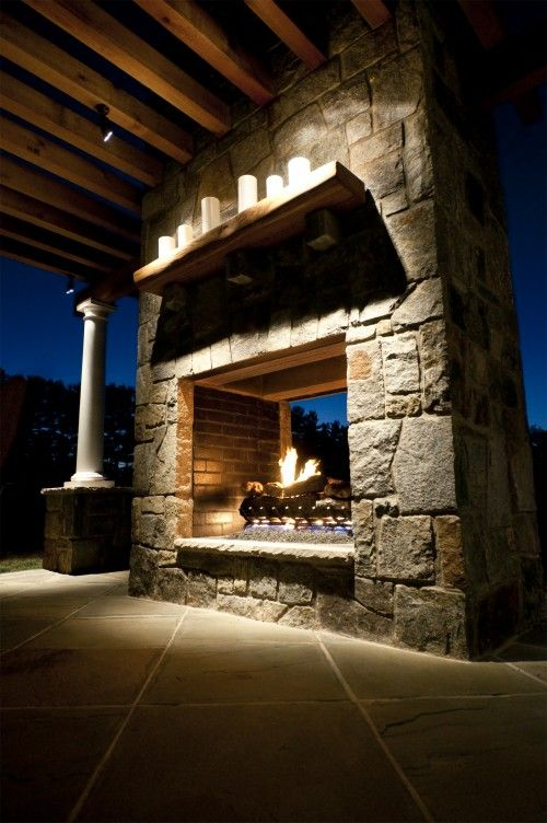 Outdoor fireplaces fireplaces and outdoor on pinterest for How to build a double sided fireplace