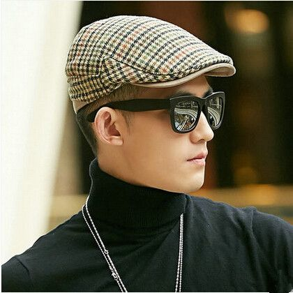 Casual plaid flat cap for men warm wool hat for spring and autumn