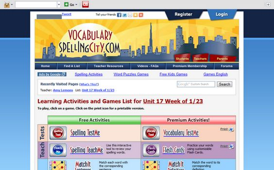 Free resource- helps to build vocabulary and spelling skills. Lots of games. Create your own word lists.