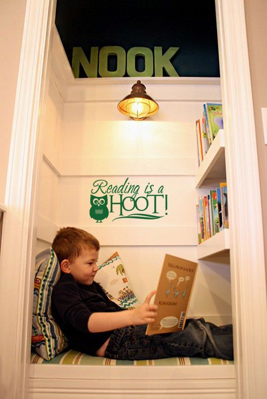 """Reading Is A Hoot"" vinyl lettering wall decal that would be perfect for a reading nook, playroom, or classroom. More can be found at www.LacyBella.com"