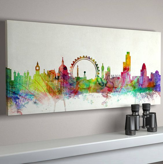 london city skyline print aquarell big ben und tischpl ne. Black Bedroom Furniture Sets. Home Design Ideas