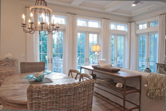 Florida Charm House Tour - wonder about the curtain rod placement, and like the sofa table.