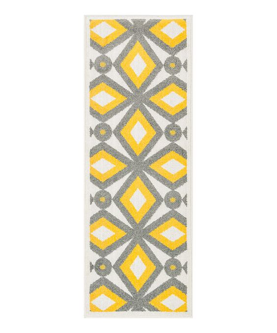 Look at this Gray & Lemon Diamonds Terrace Indoor/Outdoor Runner on #zulily today!