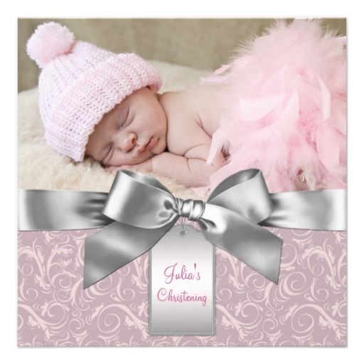 Pink and Gray Baby Girl Photo Christening Custom Announcements
