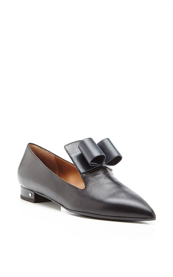 Gertrude Bow-Detail Leather Loafers in Navy by Laurence Dacade - Moda Operandi