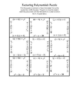 factoring polynomials worksheet with answers puzzles and squares on pinterestfactoring. Black Bedroom Furniture Sets. Home Design Ideas